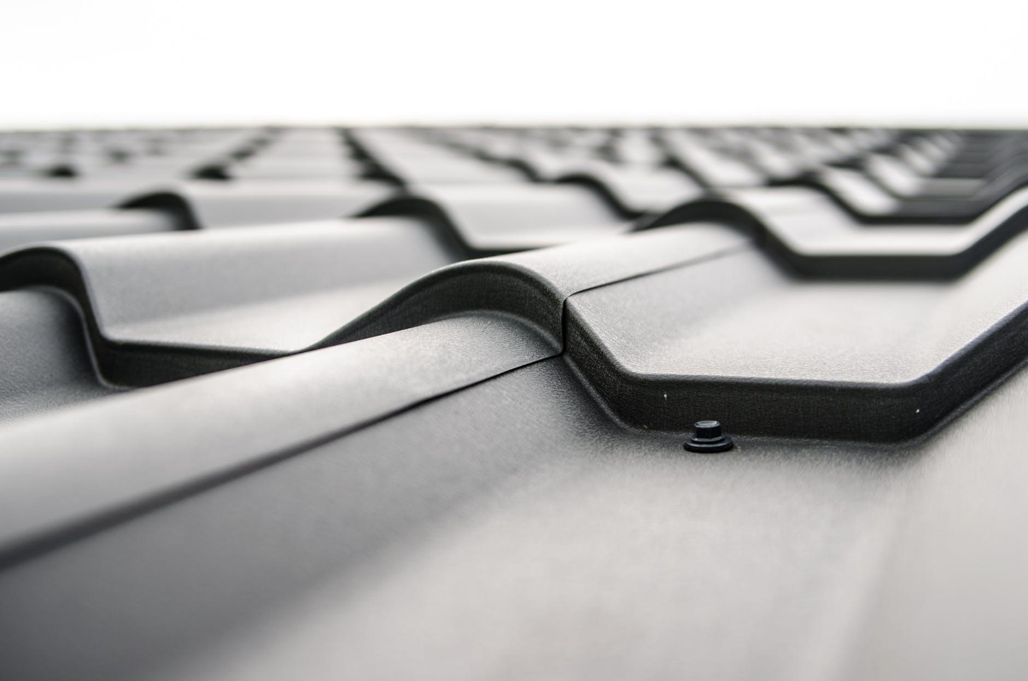 Close up of steel roofing panels